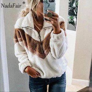 Jackets & Blazers - COMING SOON🎉 White Fuzzy Vintage Look Sweatshirt